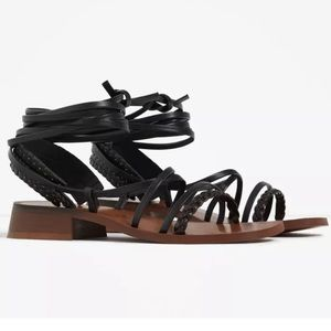Zara Black Leather Ankle Wrap Strappy Sandals